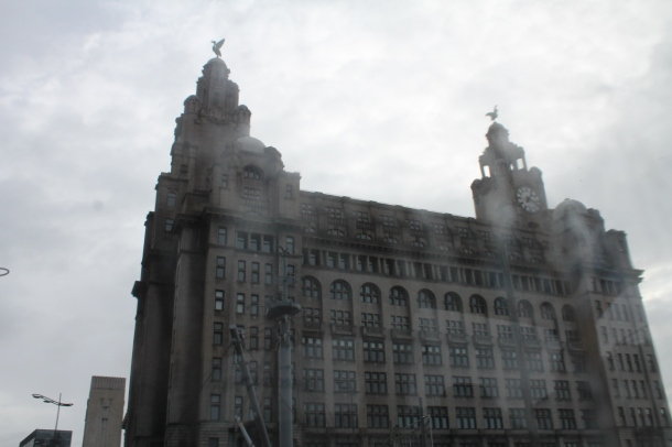A very wet and rainy view of the Liver Building
